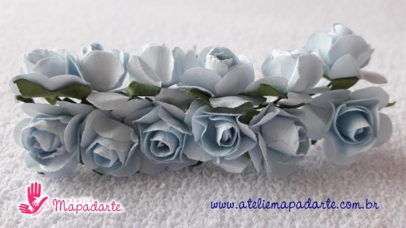 Foto 1 - Cód M2023 Rosinhas de papel com caule azul claro 12 un