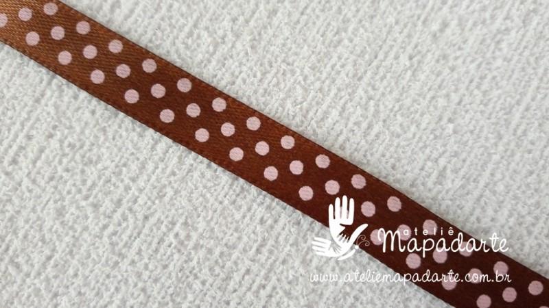 Foto 1 - Cód M2045 Fita de cetim marrom/rosa de poá 1cm (3204) 1mt