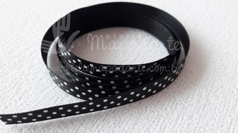 Foto2 - Cód M2047 Fita de cetim preto/branco de poá 1cm (3901) 1mt