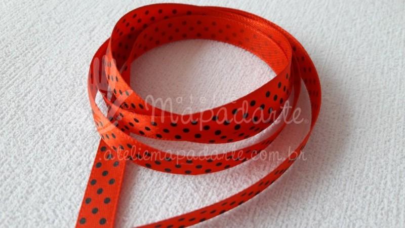 Foto2 - Cód M2049 Fita de cetim vermelho/preto de poá 1cm (2639) 1 mt