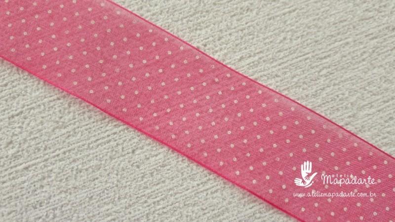 Foto 1 - Cód M2053 Fita de voal pink /branco poá 2.5cm largura 1 mt (2801)