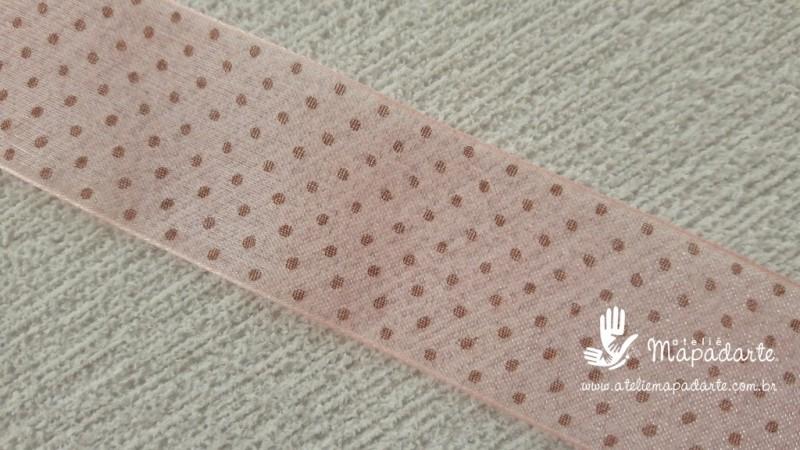 Foto 1 - Cód M2057 Fita de voal rosa/marrom poá 2.5cm largura (0432) 1 mt