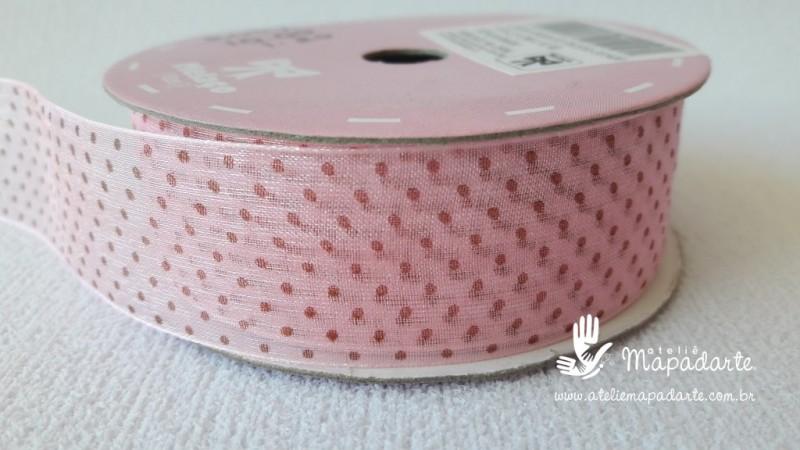 Foto2 - Cód M2057 Fita de voal rosa/marrom poá 2.5cm largura (0432) 1 mt