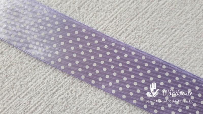 Foto 1 - Cód M2062 Fita de cetim lilás/branco poá 2.5cm largura (2101) 1 mt