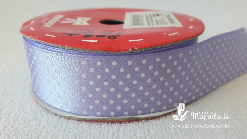 Foto2 - Cód M2062 Fita de cetim lilás/branco poá 2.5cm largura (2101) 1 mt