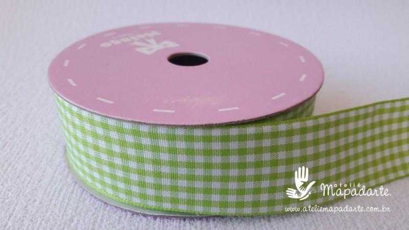 Foto2 - Cód M2071 Fita xadrez verde 2.5cm largura (0020) 1 mt