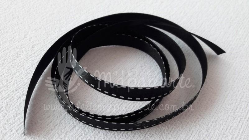 Foto2 - Cód M2072 Fita cetim preto com traço branco 1cm largura (3901) 1 mt