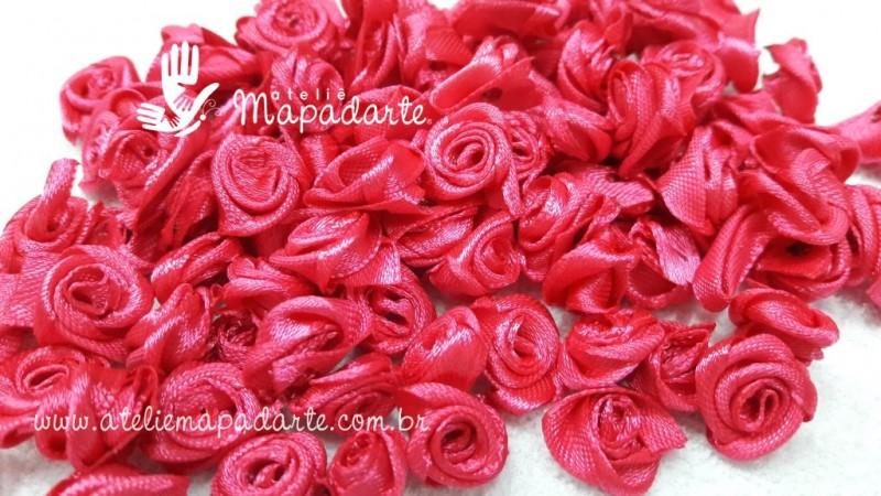 Foto 1 - Cód M2074 Mini botão de rosa em cetim cor pink 10 un