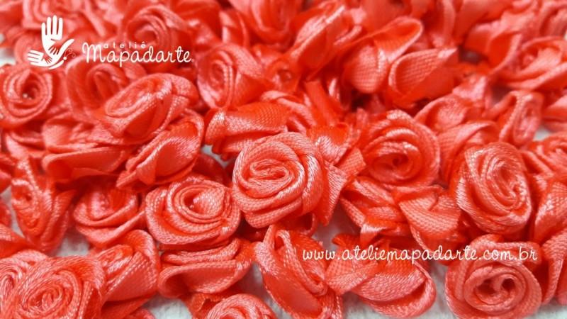 Foto 1 - Cód M2075 Mini botão de rosa em cetim cor coral 10 un