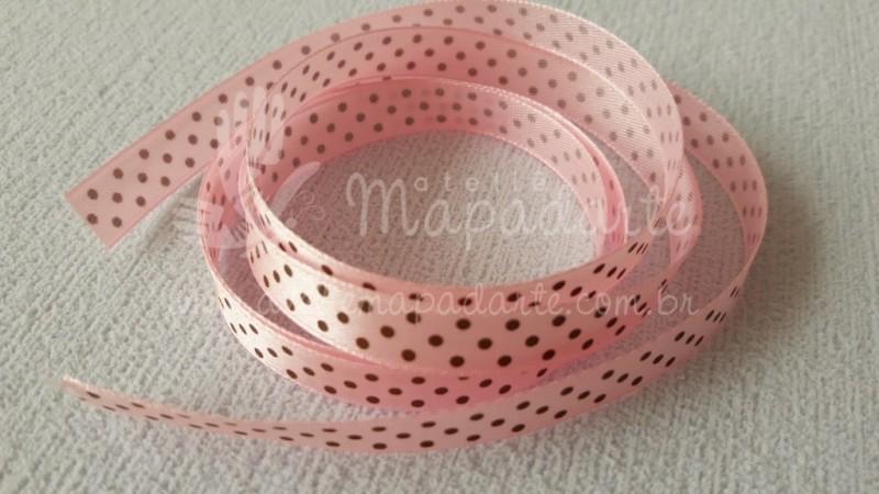 Foto2 - Cód M2077 Fita de cetim rosa/marrom de poá 1cm (0432) 10mt