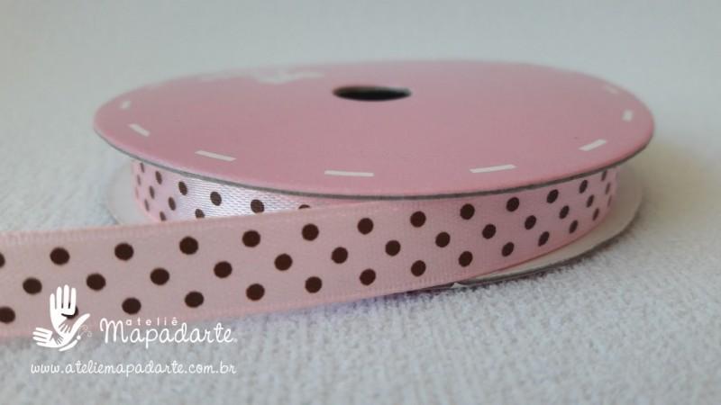 Foto 1 - Cód M2077 Fita de cetim rosa/marrom de poá 1cm (0432) 10mt
