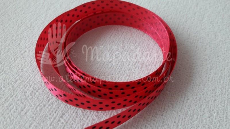 Foto2 - Cód M2079 Fita de cetim pink/preto de poá 1cm (2839) 10 mt