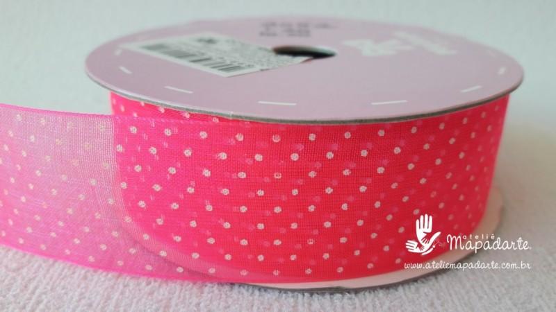 Foto 1 - Cód M2083 Fita de voal pink neon/branco poá 2.5cm largura 10 mt (0501)