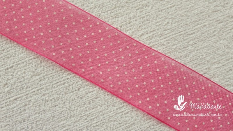 Foto2 - Cód M2084 Fita de voal pink /branco poá 2.5cm largura 10 mt (2801)