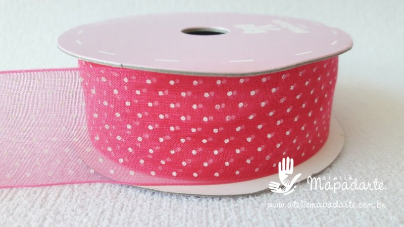 Foto 1 - Cód M2084 Fita de voal pink /branco poá 2.5cm largura 10 mt (2801)