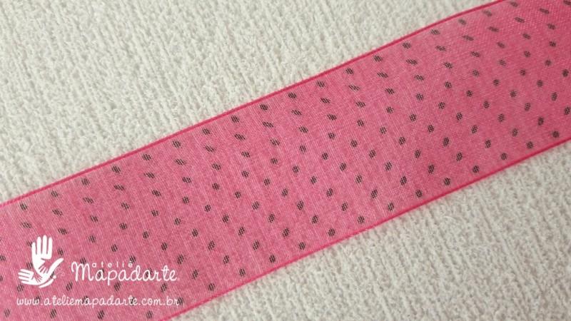 Foto2 - Cód M2085 Fita de voal pink /preto poá 2.5cm largura 10 mt (2839)