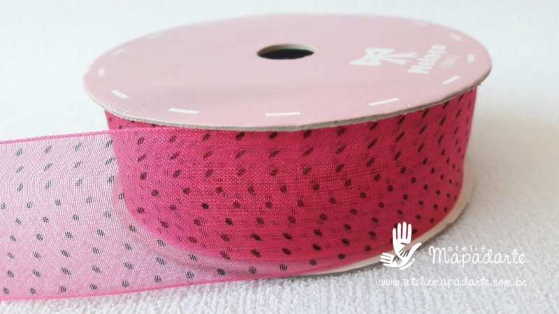 Foto 1 - Cód M2085 Fita de voal pink /preto poá 2.5cm largura 10 mt (2839)