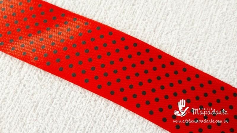 Foto2 - Cód M2104 Fita de cetim vermelho/preto poá 2.5cm largura (2639) 10mt