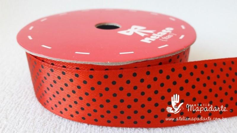 Foto 1 - Cód M2104 Fita de cetim vermelho/preto poá 2.5cm largura (2639) 10mt