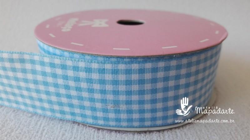 Foto 1 - Cód M2098 Fita xadrez azul claro 2.5 cm largura (0012) 10 mt