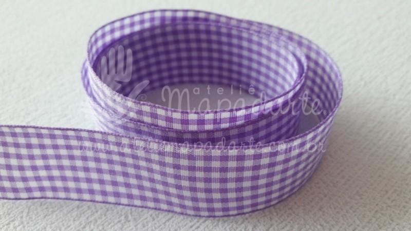 Foto2 - Cód M2101 Fita xadrez lilás 2.5cm largura (0046) 10 mt