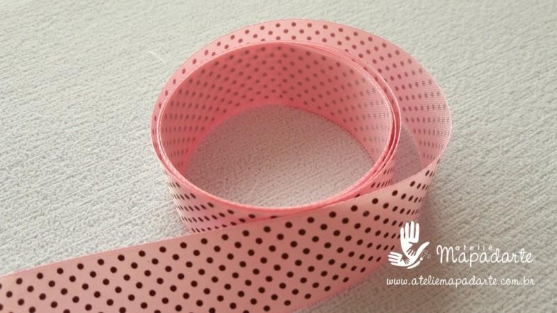 Foto2 - Cód M2103 Fita de cetim rosa/marrom poá 2.5cm largura (0432) 10 mt