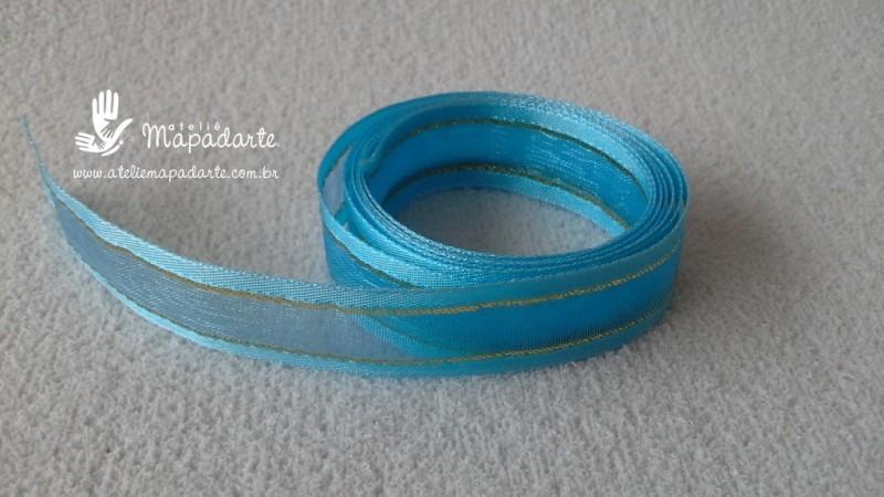 Foto 1 - Cód M2175 Fita de voal azul claro com borda de cetim 1.5 cm largura 1mt