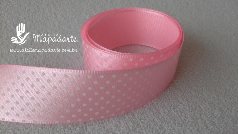 Foto 1 - Cód M2180 Fita de cetim rosa claro/bolinha branca 2.5cm largura (0401) 1mt