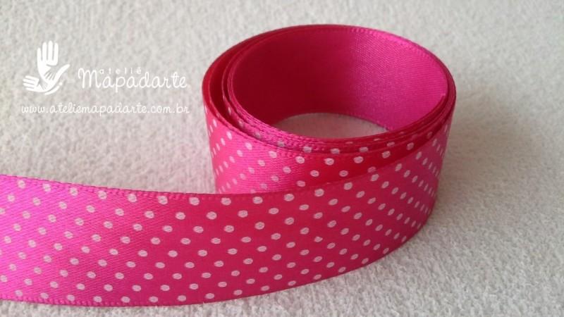 Foto 1 - Cód M2181 Fita de cetim pink/bolinha branca 2.5cm largura (2801) 1mt