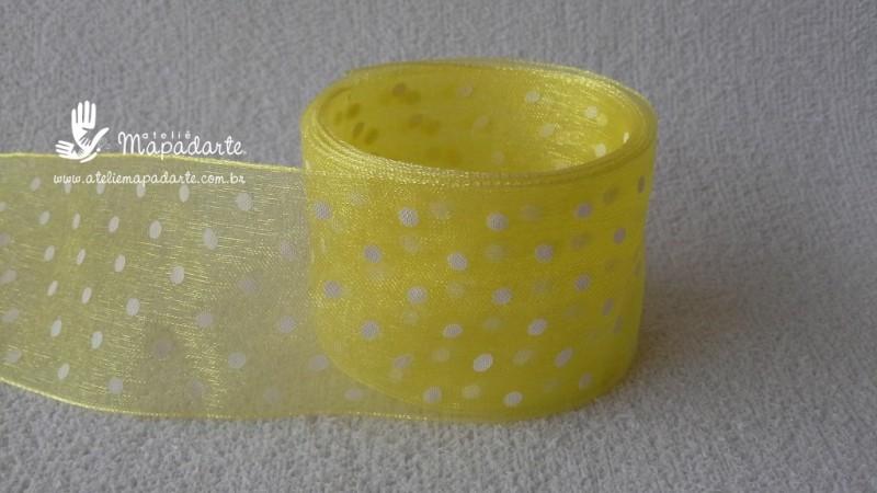 Foto 1 - Cód M2193 Fita de voal amarelo/bolinha branco 4 cm largura (4010) 1mt