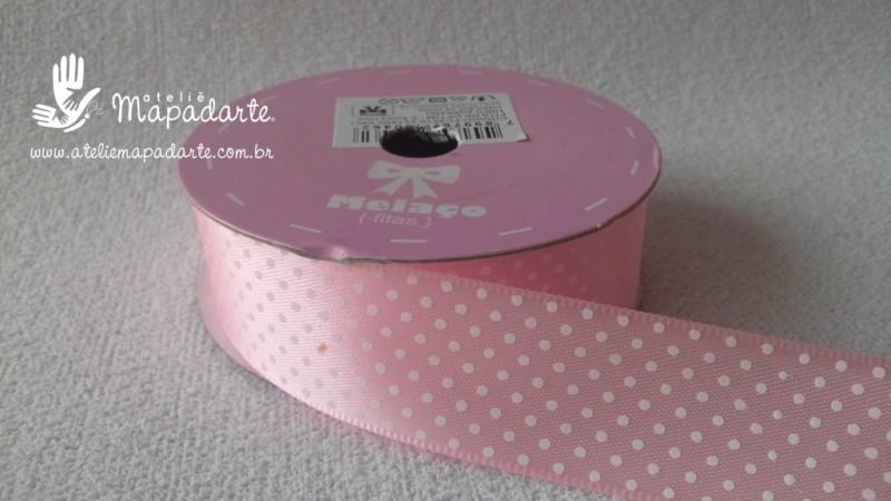 Foto 1 - Cód M2203 Fita de cetim rosa claro/ bolinha branca 2.5cm largura (0401) 10mts