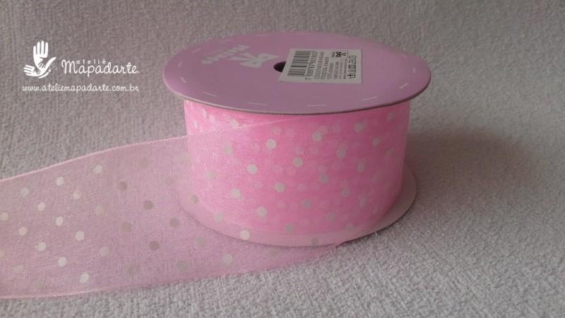 Foto 1 - Cód M2212 Fita de voal rosa/bolinha branco 4cm largura (0401) 10 mt
