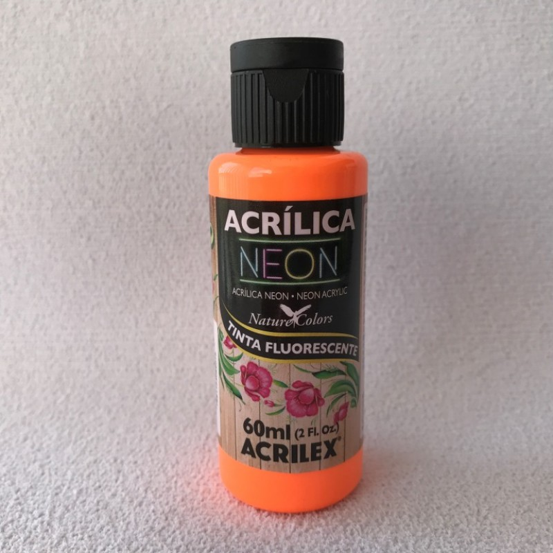 Foto 1 - Cód M2349 Tinta acrílica fosca laranja neon fluorescente nature colors 60 ml