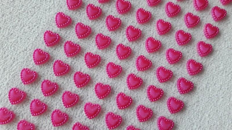 Foto2 - Cód M2610 Cartela adesiva de coração pink 01 cartela