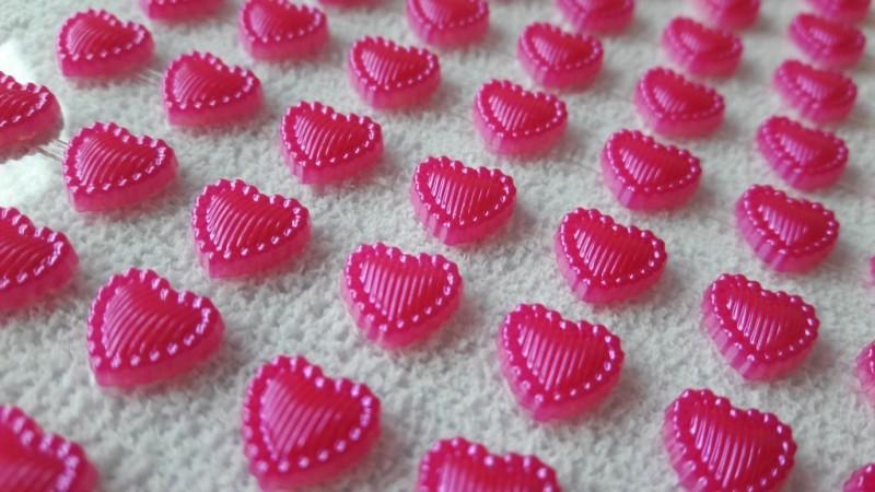 Foto 1 - Cód M2610 Cartela adesiva de coração pink 01 cartela