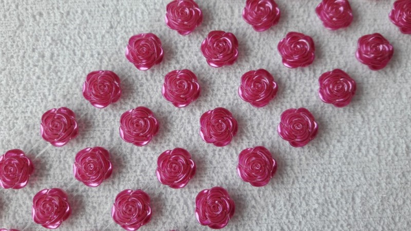Foto 1 - Cód M2618 Cartela adesiva de mini rosa pink 12mm 01 cartela