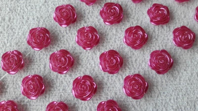 Foto2 - Cód M2618 Cartela adesiva de mini rosa pink 12mm 01 cartela