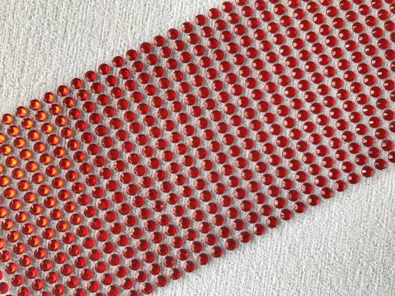 Foto 1 - Cód M2643 Cartela adesiva de strás vermelho 5mm 01 cartela