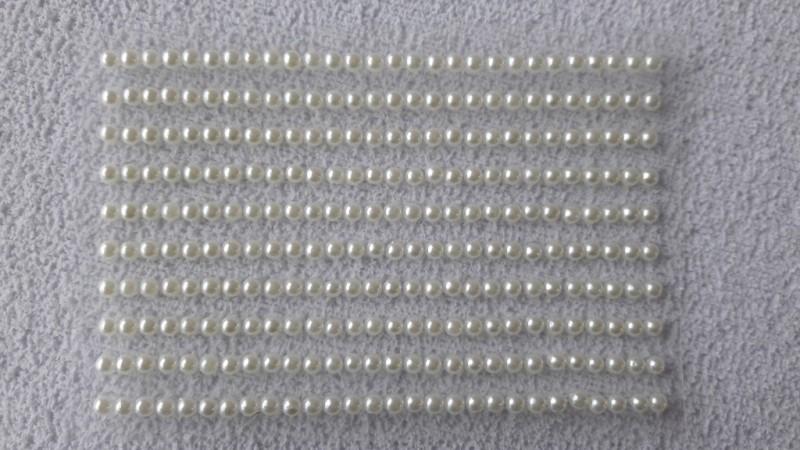 Foto 1 - Cód M2652 Cartela adesiva de meia pérola branca 3mm 01 cartela