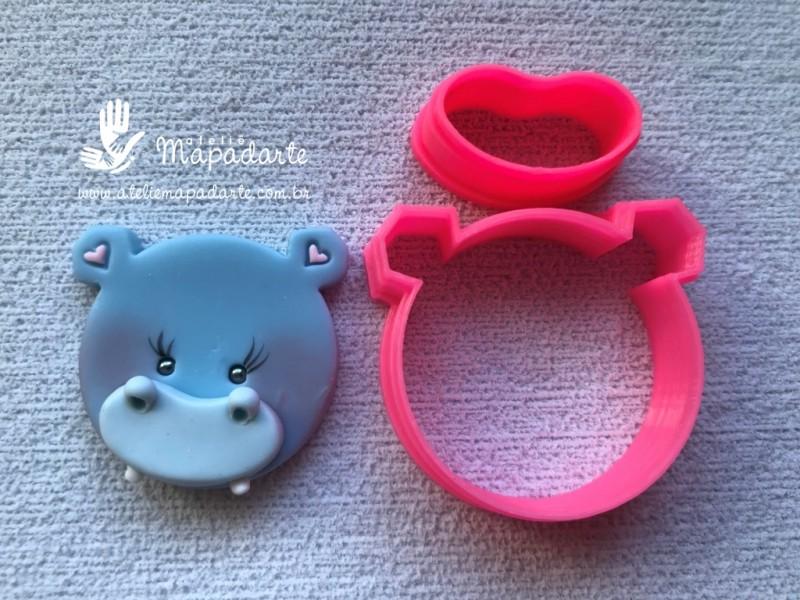 Foto 1 - Cód M2712 Cortador de hipopótamo em plástico (cabeça) PLA s ref. 382-5 02 peça( AC)
