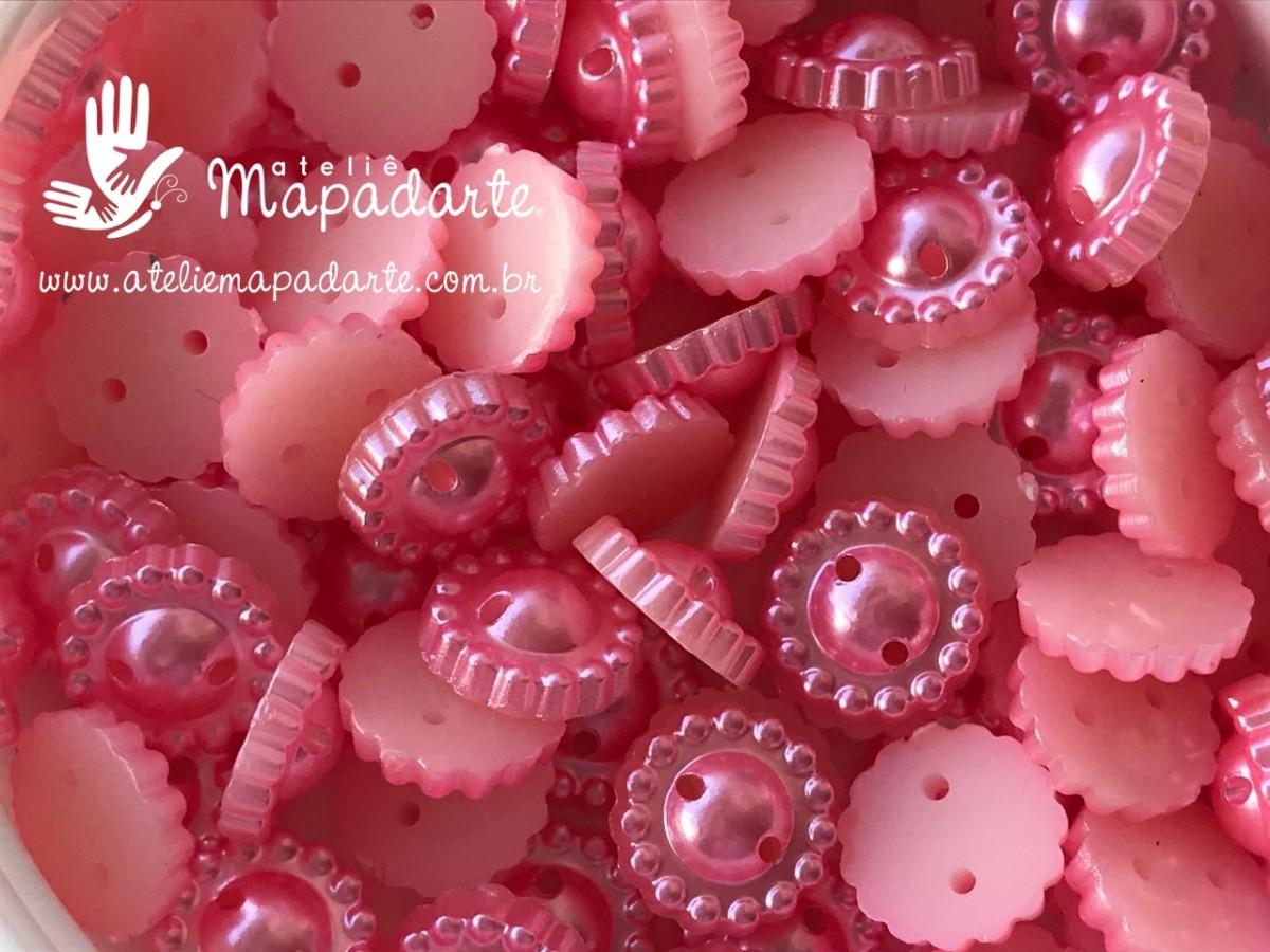 Foto 1 - Cód M2734 Meia pérola trabalhada rosa com furo 8mm 10gr