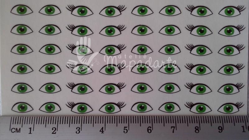 Foto 1 - Cód M449 Decalque de olhos de boneca(o) 76 pares verde