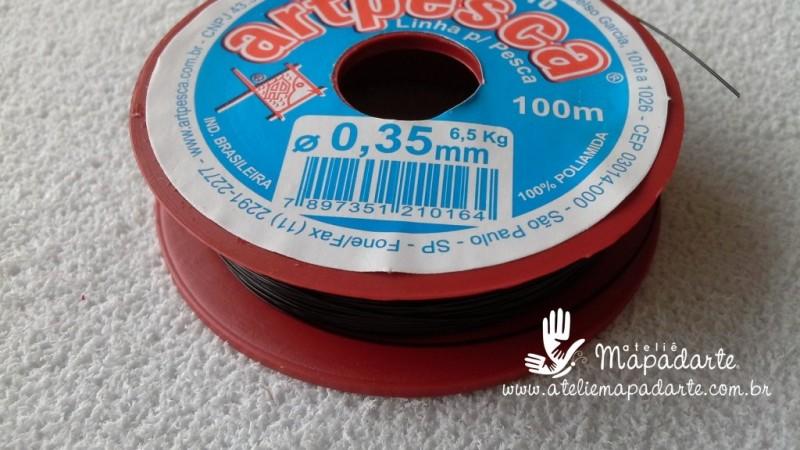 Foto 1 - Cód M532 Linha de nylon preto 0.35mm com 100 mt