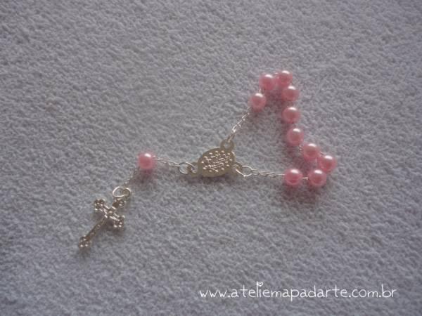Foto2 - Cód M648 Mini terço rosa 1 un