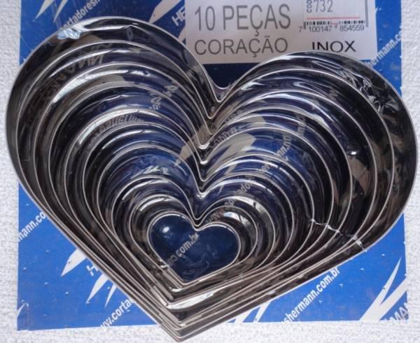 Foto 1 - Cód M732 Cortador inox coração com 10 peças (H)