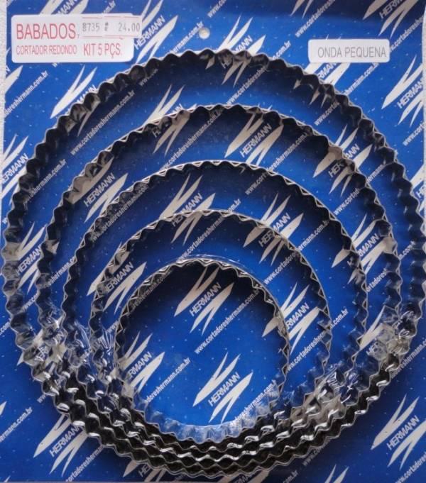 Foto 1 - Cód M735 Cortador inox de babado para pote onda (pequeno) 5 peças (H)