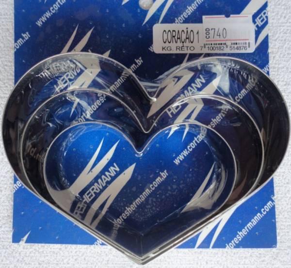 Foto 1 - Cód M740 Cortador inox coração reto (grande) com 3 peças (H)