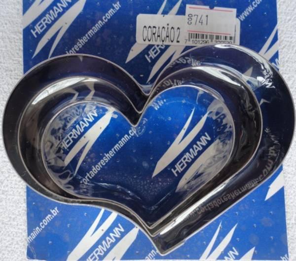 Foto 1 - Cód M741 Cortador inox coração curvo (grande) 3 peças (H)