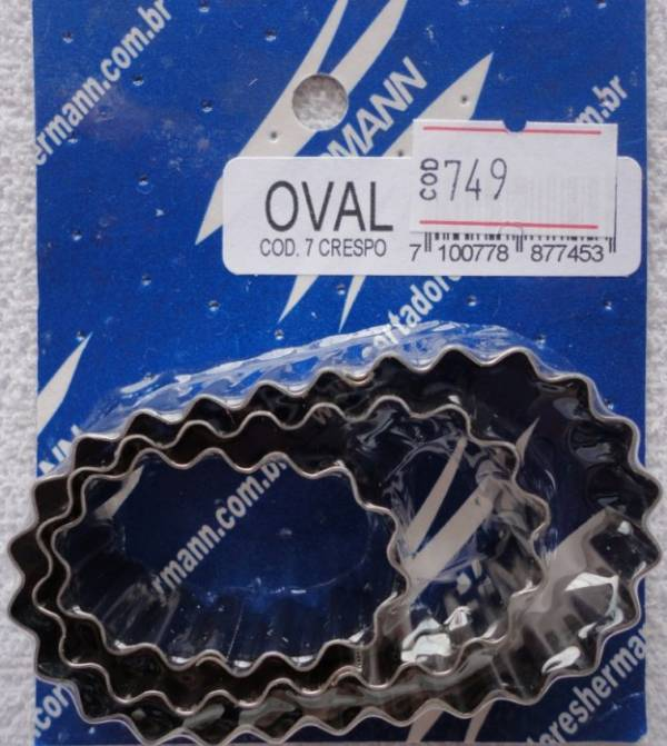 Foto 1 - Cód M749 Cortador inox oval crespo (pequeno) 3 peças (H)