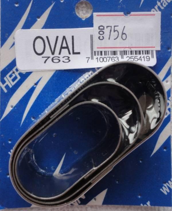 Foto 1 - Cód M756 Cortador inox oval liso (pequeno) 3 peças (H)